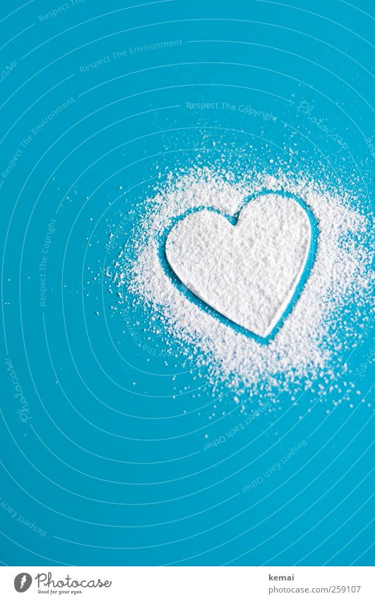 Blue White Love Heart Table Living or residing Kitchen Sign Turquoise Joie de vivre (Vitality) Infatuation Sympathy Spring fever Confectioner`s sugar