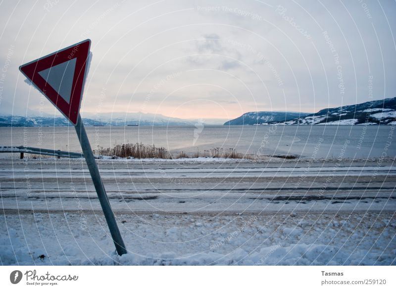 Sign with view Environment Nature Landscape Water Winter Beautiful weather Ice Frost Snow Coast Lakeside Bay Fjord Transport Traffic infrastructure Road traffic