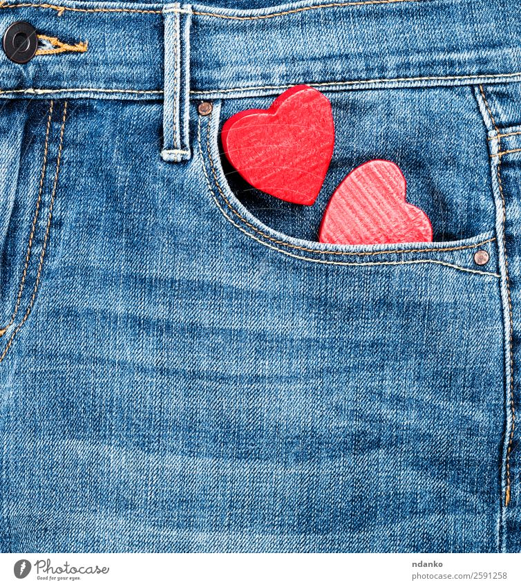 jeans and two red wooden hearts Style Valentine's Day Fashion Clothing Pants Jeans Wood Heart Love Blue Red Colour Tradition background Canvas casual Cotton