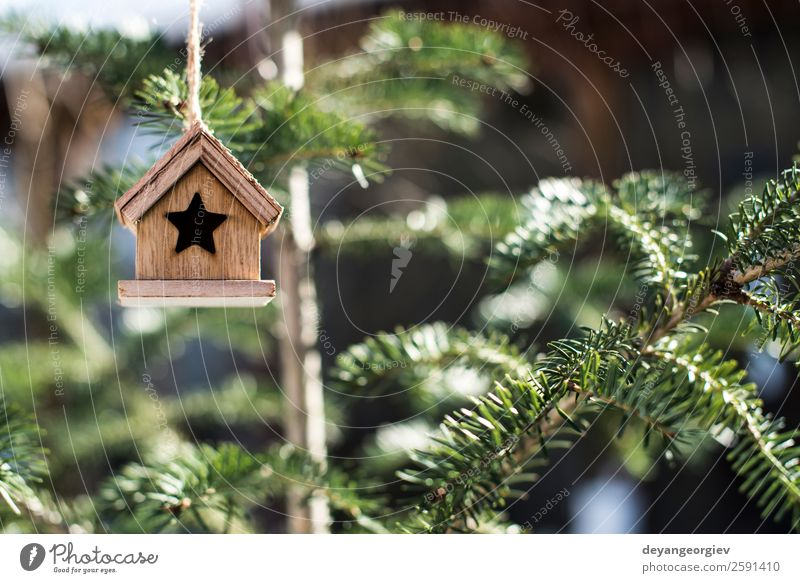 Wooden Christmas house Design Winter Snow House (Residential Structure) Decoration Feasts & Celebrations Christmas & Advent Landscape Tree Bird White Tradition