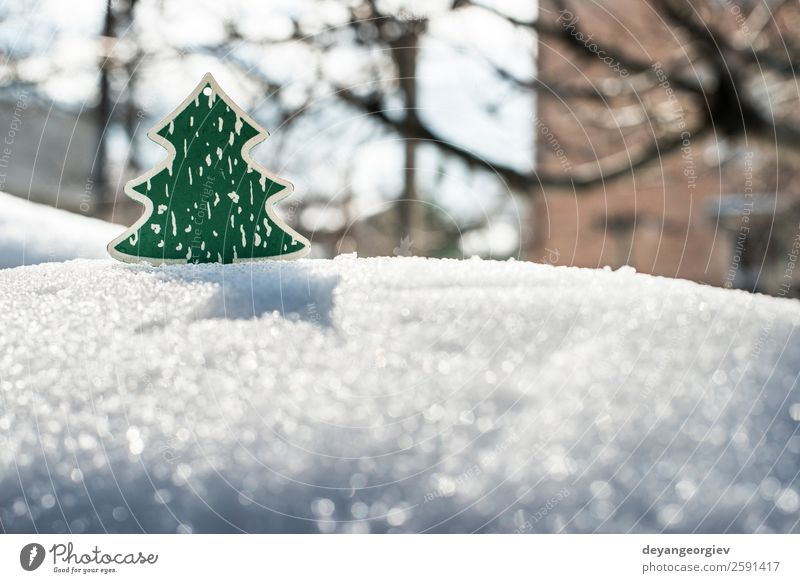 Wooden christmas tree on snow. Nature Christmas & Advent Green White Tree Winter Snow Feasts & Celebrations Design Decoration Symbols and metaphors New Seasons