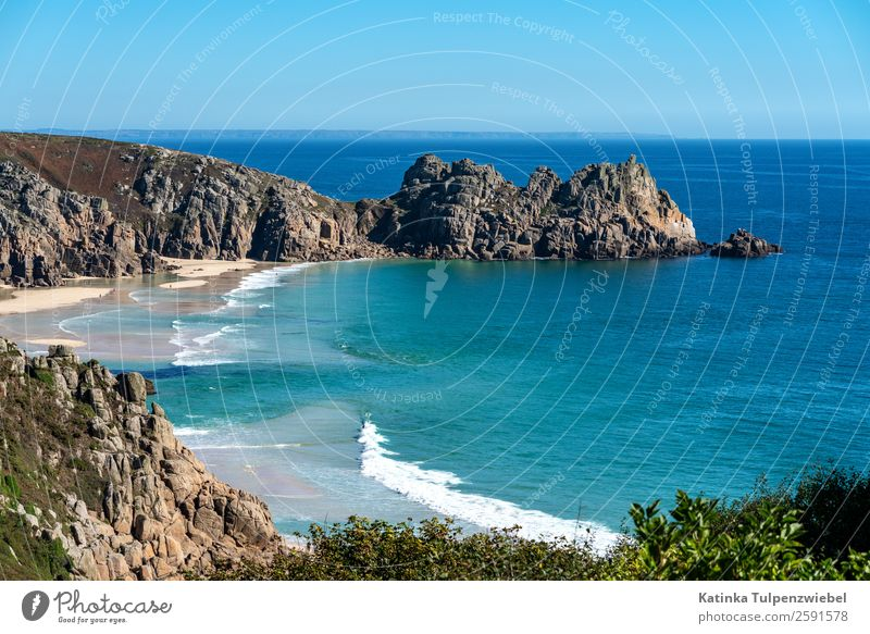 Granite cliffs and beach of Porthcurno, Cornwall Environment Nature Landscape Elements Sand Water Sky Horizon Autumn Beautiful weather Rock Peak Waves Coast