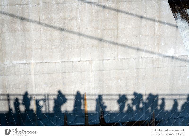 Schwarze Schatten (Touristen) auf dem Weg zum Wasserfall Human being Vacation & Travel Summer Water Landscape Architecture Wall (building) Building Tourism