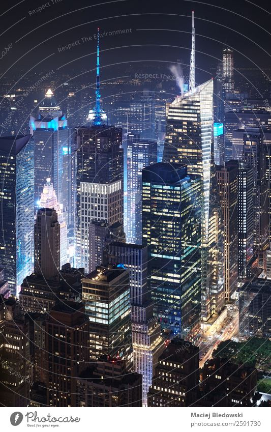 Aerial view of Manhattan at night, NYC. Work and employment Office Downtown Skyline Populated Overpopulated High-rise Bank building Building Architecture