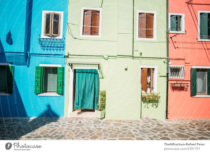 Burano Small Town Blue Multicoloured Green Red Paving stone Dye Italy House (Residential Structure) Window Shutter Exterior shot Deserted Copy Space top