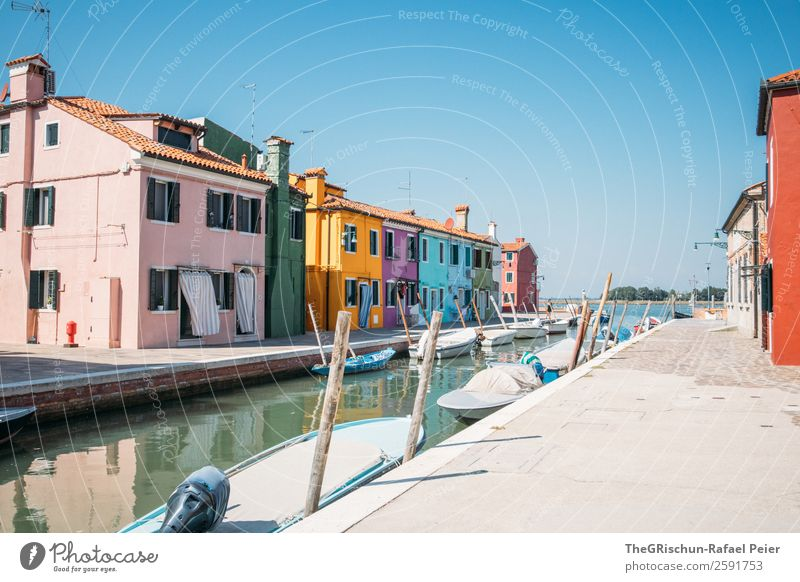 Burano Village Small Town Blue Multicoloured Green Violet Wooden stake Navigation Watercraft House (Residential Structure) Channel Italy Colour photo