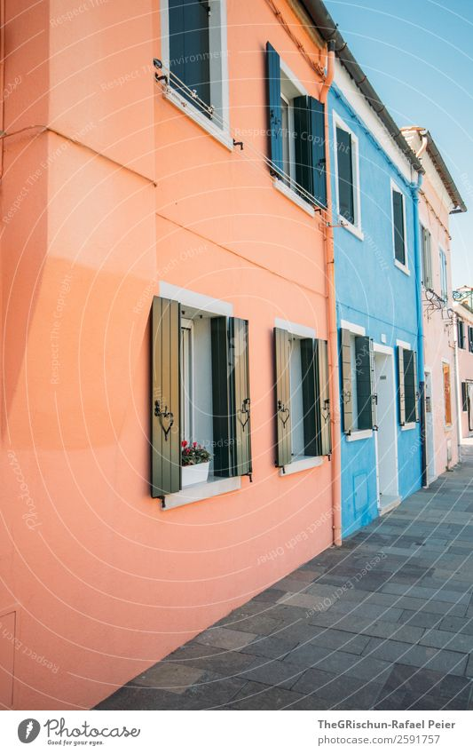Burano Village Small Town Blue Violet Pink Italy House (Residential Structure) Multicoloured Window Shutter Paving stone Tourism Colour photo Detail Deserted