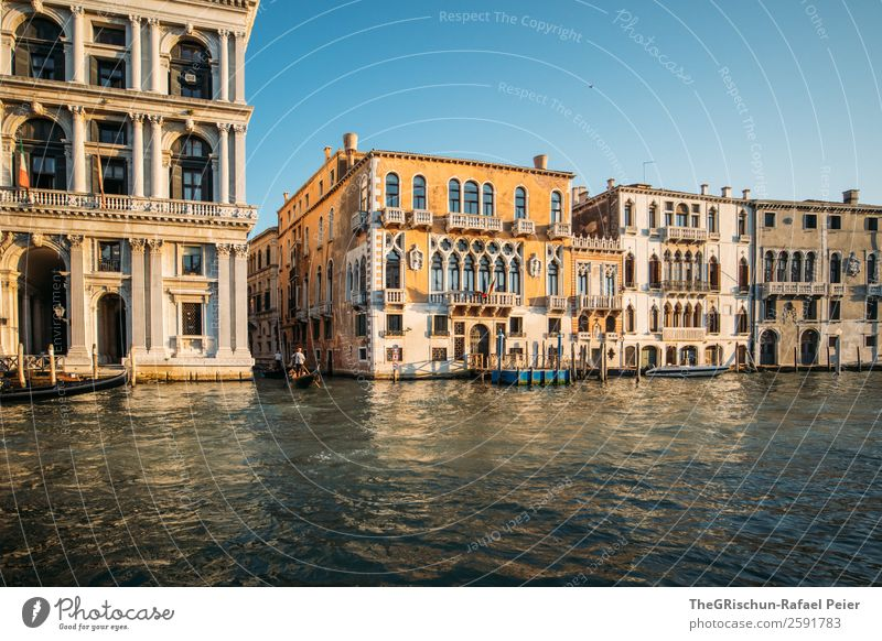 Venice Small Town Port City Blue Yellow Gold Italy House (Residential Structure) Water Window Canal Grande Travel photography City trip Colour photo