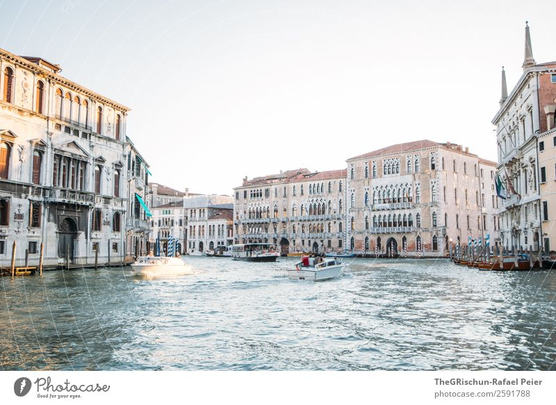 Venice Small Town Port City Downtown Pink Silver White Water Sea water Canal Grande Italy House (Residential Structure) Moody Watercraft Colour photo Deserted