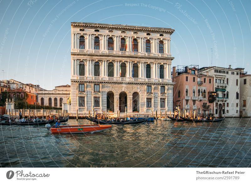 Venice Small Town Port City Blue Black Silver White Italy Water Sea water Window Travel photography Navigation Watercraft Colour photo Exterior shot Deserted