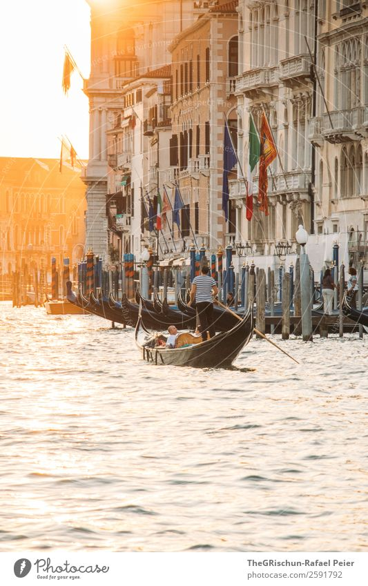 Sunset Small Town Port City Yellow Orange Silver White Gondolier Venice House (Residential Structure) Man Tourism Back-light Water Italy Moody Colour photo