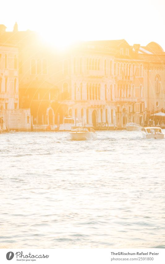 Sunset Small Town Port City Gold Silver White Back-light Water Sea water Venice Italy Canal Grande House (Residential Structure) Channel Watercraft Navigation