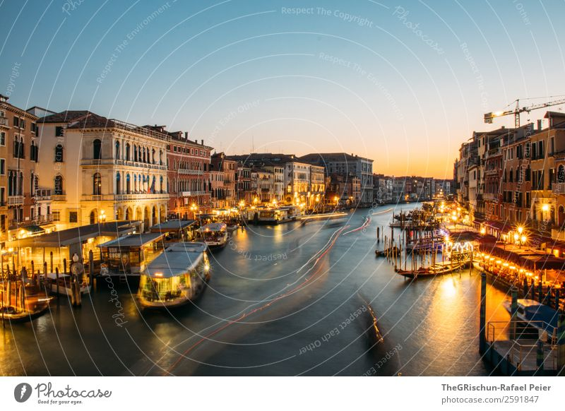 Venice Small Town Port City Blue Yellow Gold Light Moody Canal Grande Italy Watercraft Navigation Tourism Long exposure Exterior shot Copy Space bottom Night