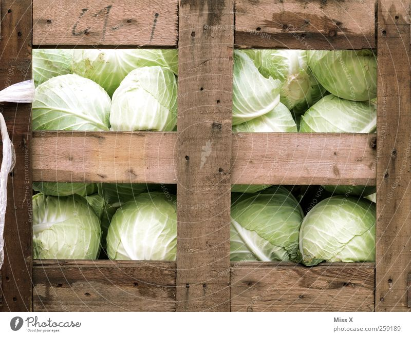 Nutrition Food Healthy Fresh Vegetable Delicious Lettuce Salad Cabbage Wooden box Farmer's market Greengrocer Vegetable market Fruit- or Vegetable stall