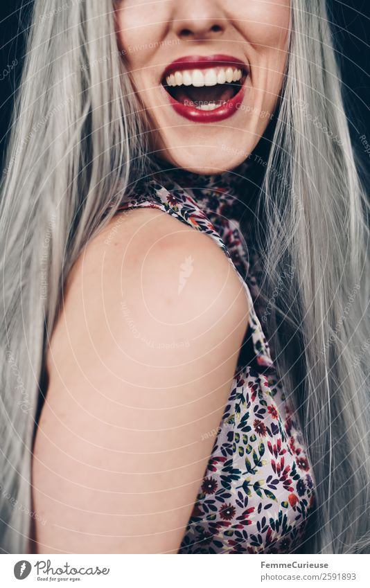 Young smiling woman with grey dyed hair Elegant Style Feminine Young woman Youth (Young adults) Woman Adults 1 Human being 18 - 30 years 30 - 45 years Happy