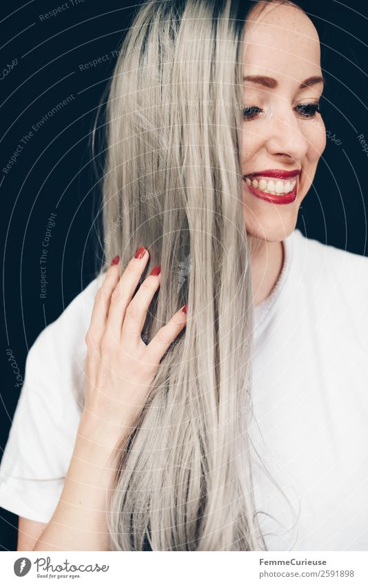 Smiling woman with long grey dyed hair Elegant Style Feminine Young woman Youth (Young adults) Woman Adults 1 Human being 18 - 30 years 30 - 45 years Colour