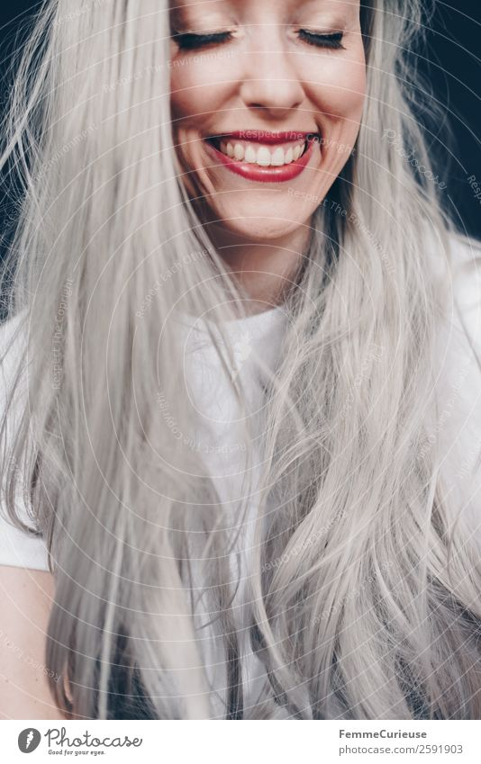 Smiling woman with long grey dyed hair Feminine Woman Adults 1 Human being 18 - 30 years Youth (Young adults) 30 - 45 years Gray Colour Hair and hairstyles