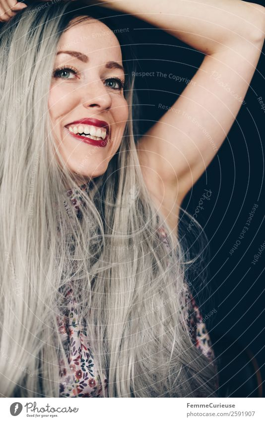Smiling woman with long grey dyed hair Lifestyle Elegant Style Feminine Young woman Youth (Young adults) Woman Adults 1 Human being 18 - 30 years 30 - 45 years
