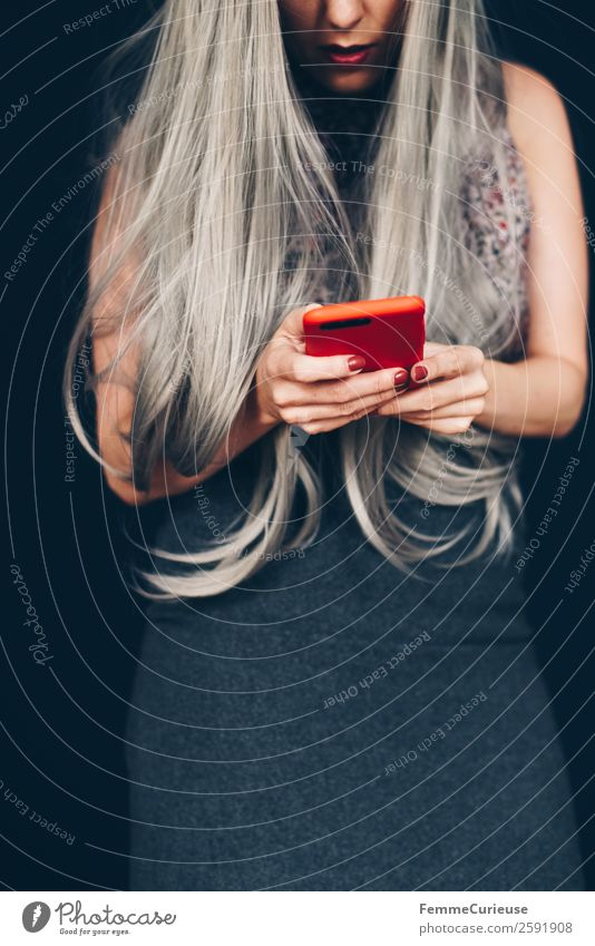 Woman with grey dyed hair using her phone Lifestyle Elegant Style Feminine Young woman Youth (Young adults) Adults 1 Human being 18 - 30 years 30 - 45 years
