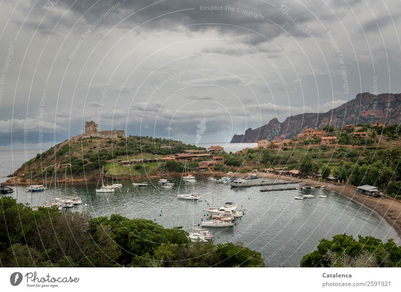 girolata Vacation & Travel Tourism Summer vacation Landscape Sky Clouds Bad weather Rock Mountain Coast Bay Ocean Mediterranean sea Corsica Village