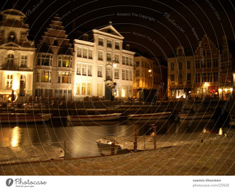 House (Residential Structure) Dark Building Lighting Belgium Half-timbered facade Ghent
