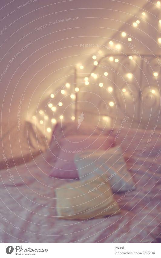 fairytale bedroom Interior design Bedroom Duvet Cushion Fairy lights Pink Hip & trendy Cuddly Kitsch Colour photo Interior shot Artificial light