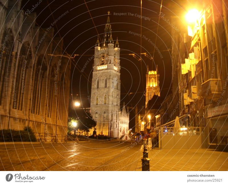 Street Dark Religion and faith Holy Cathedral Belgium House of worship Ghent