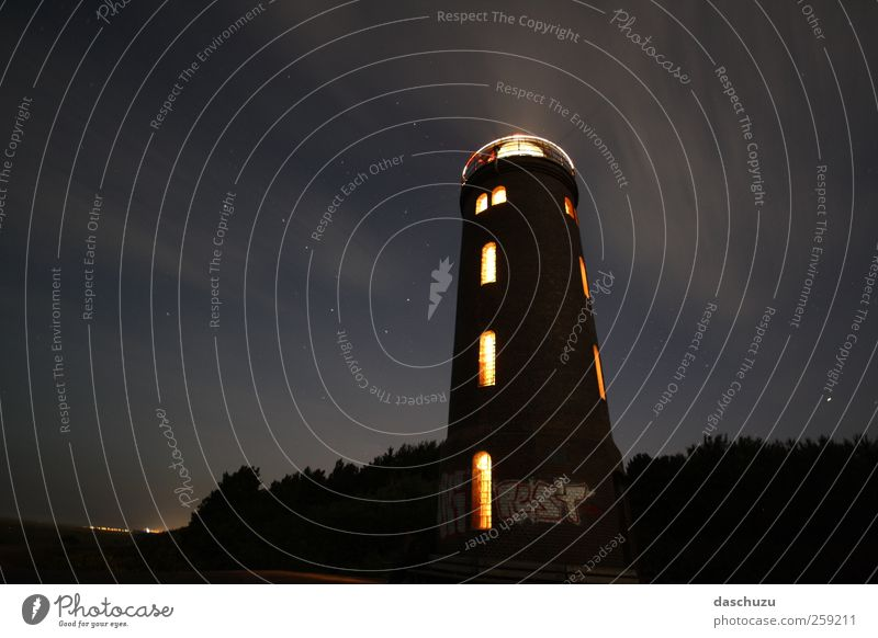 Lighthouse St. Peter-Ording Germany Europe Deserted Tower Dike Graffiti Starry sky Colour photo Exterior shot Night
