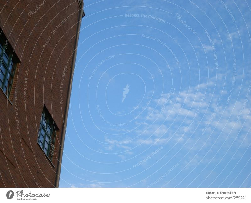 Sky Blue Clouds Window Building Industry Corner Brick Duisburg
