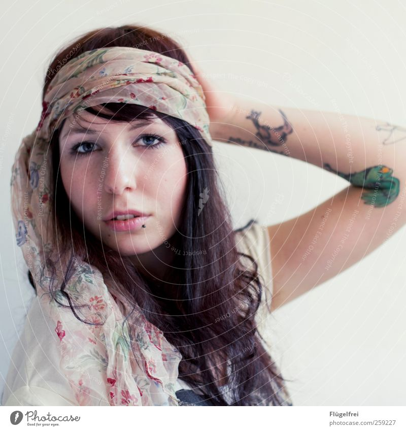 Don't worry, be Hippie. Feminine 1 Human being 18 - 30 years Youth (Young adults) Adults Looking Beautiful Rag Headscarf Hair and hairstyles Curl Soft Dreamily