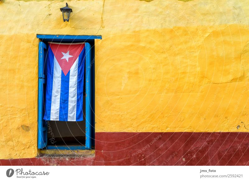 Welcome to Cuba Vacation & Travel Tourism City trip Architecture Village House (Residential Structure) Facade Door Flag Blue Yellow Red Entrance Colour photo