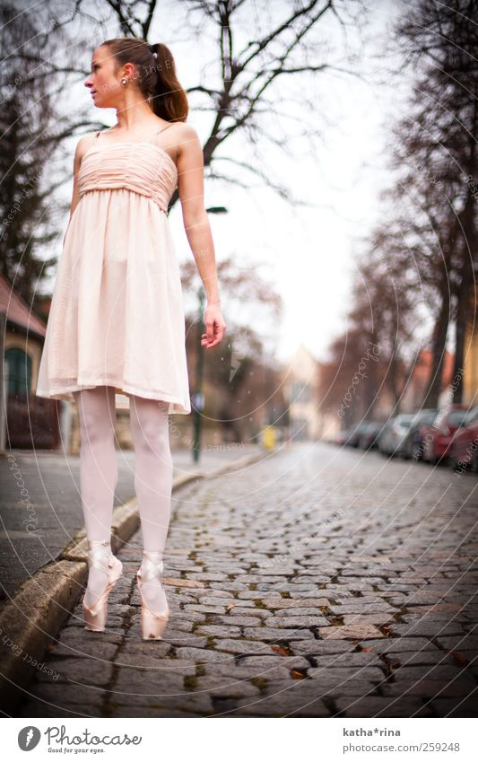 lightness Elegant Dance Feminine Young woman Youth (Young adults) 1 Human being 18 - 30 years Adults Ballet Street Dress Ballet shoe Brunette Long-haired Braids