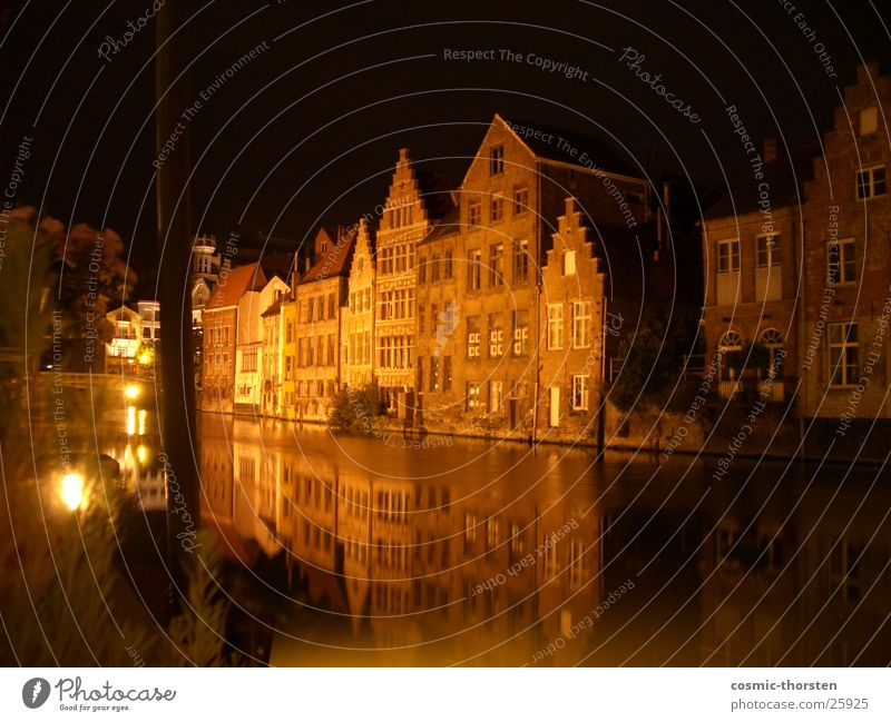 Half-timbered houses on the river Night Long exposure Ghent Belgium Half-timbered facade Mirror Reflection Light Craft (trade) River