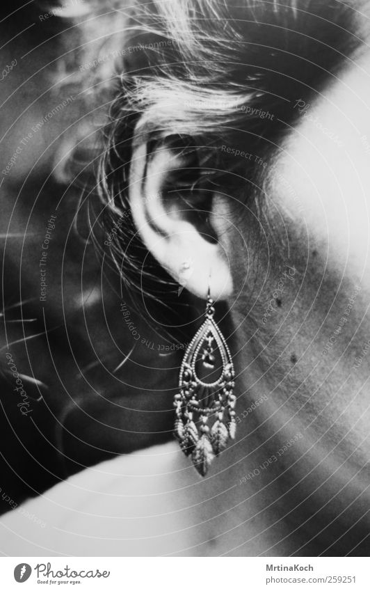 earring. Human being Feminine Woman Adults Skin Head Ear 1 18 - 30 years Youth (Young adults) Joy Happiness Earring Black & white photo Detail