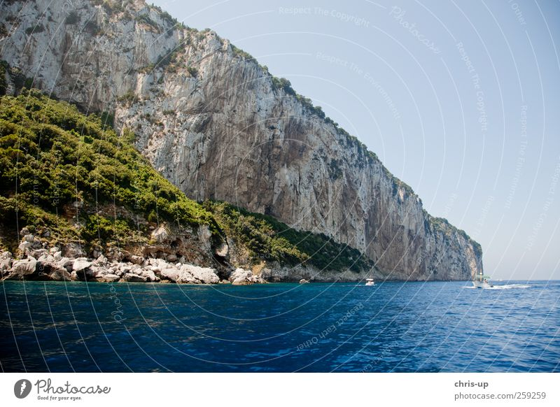 Rock face, Capri, Mediterranean Sea Relaxation Swimming & Bathing Vacation & Travel Tourism Trip Adventure Cruise Expedition Summer Summer vacation Ocean