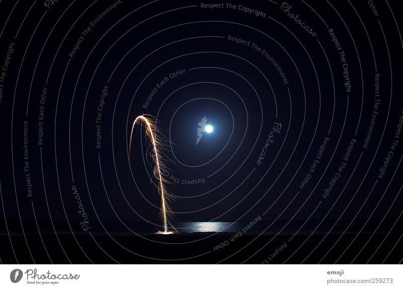 midnight formula Sky Night sky Horizon Moon Full  moon Aurora Borealis Exceptional Firecracker Moonlight Light (Natural Phenomenon) Ocean Sea water Reflection