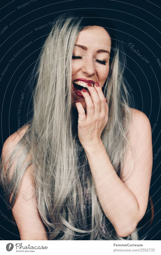 Smiling woman with long grey dyed hair Feminine Woman Adults 1 Human being 18 - 30 years Youth (Young adults) 30 - 45 years Beautiful Gray Colour
