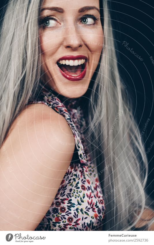 Laughing woman with long gray dyed hair Feminine Woman Adults 1 Human being 18 - 30 years Youth (Young adults) 30 - 45 years pretty Gray Hair and hairstyles