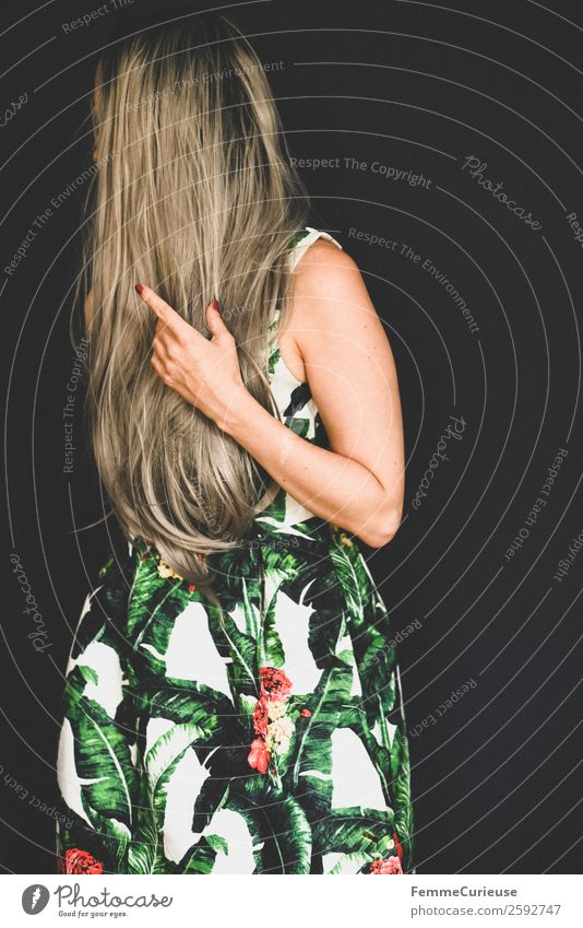 Woman with long grey dyed hair in a palm print dress Elegant Style Feminine Young woman Youth (Young adults) Adults 1 Human being 18 - 30 years 30 - 45 years