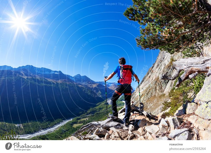Hiker takes a rest observing a mountain panorama. Mont Blanc Vacation & Travel Adventure Expedition Summer Sun Mountain Hiking Sports Man Adults Nature