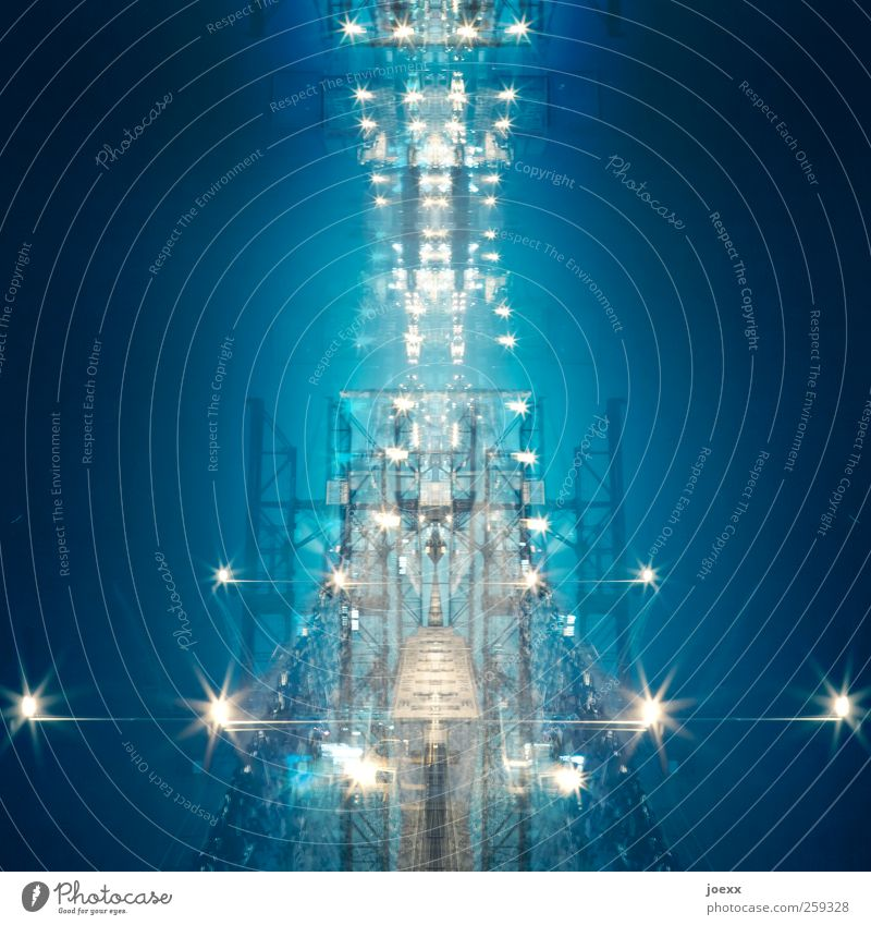 Blue White Yellow Bright Energy industry Future Universe Surrealism Symmetry Spacecraft Sea of light