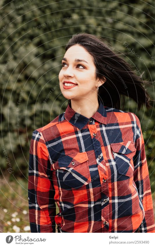 Brunette girl Style Happy Beautiful Face Wellness Human being Woman Adults Lips Nature Flower Park Fashion Jacket Leather Smiling Happiness Long Natural Red