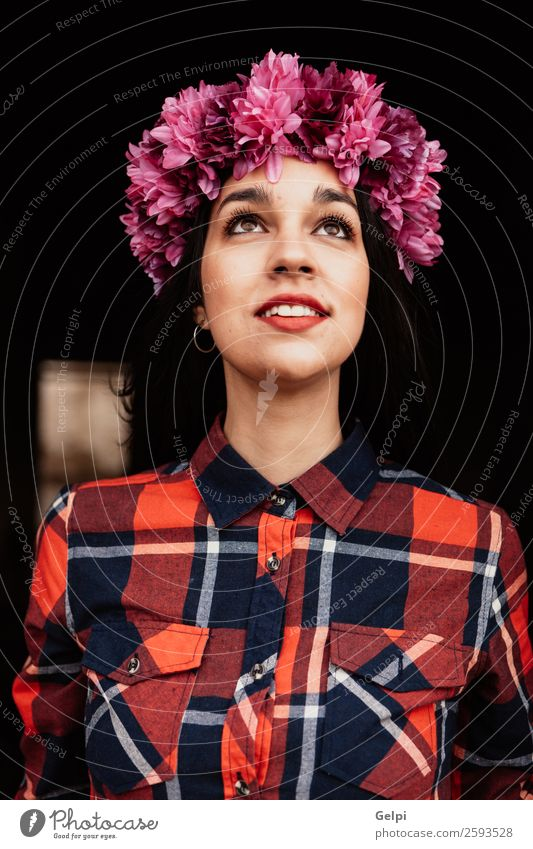 Brunette girl Style Happy Beautiful Face Human being Woman Adults Nature Flower Blossom Fashion Think Smiling Happiness Fresh Natural Pink Red Black White Idea