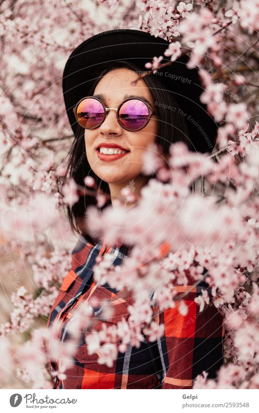 Pretty brunette girl Woman Human being Nature Beautiful White Red Tree Flower Face Adults Blossom Natural Happy Style Garden Fashion
