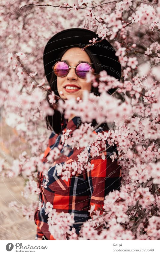 Brunette girl Woman Human being Nature Beautiful White Red Tree Flower Face Adults Blossom Natural Happy Style Garden Fashion
