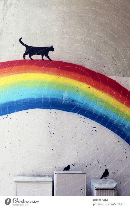 Cat Wall (building) Playing Graffiti Wall (barrier) Dream Art Horizon Bird Facade Esthetic Decoration Creativity Fantastic Idea Kindergarten