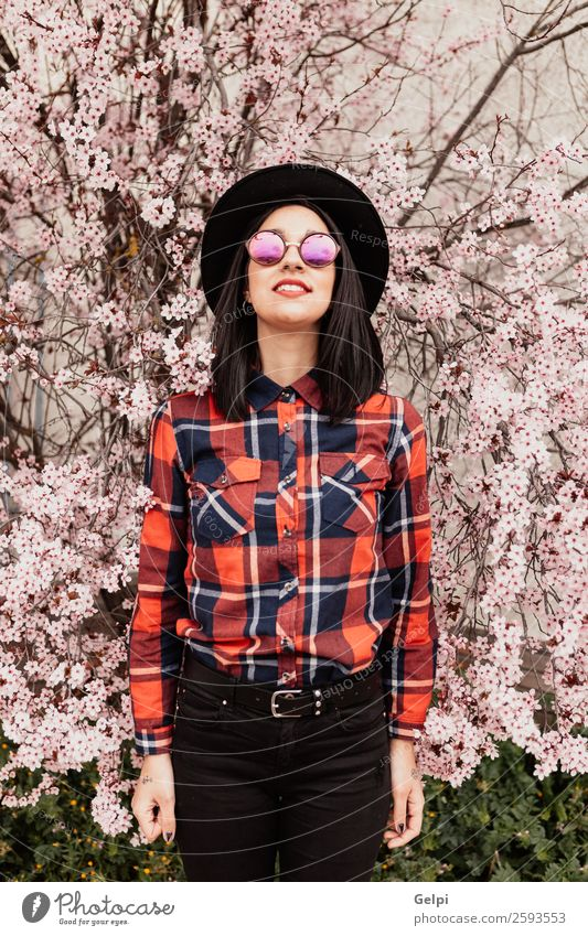Brunette girl Style Happy Beautiful Face Garden Human being Woman Adults Nature Tree Flower Blossom Park Fashion Sunglasses Hat Smiling Happiness Fresh Long