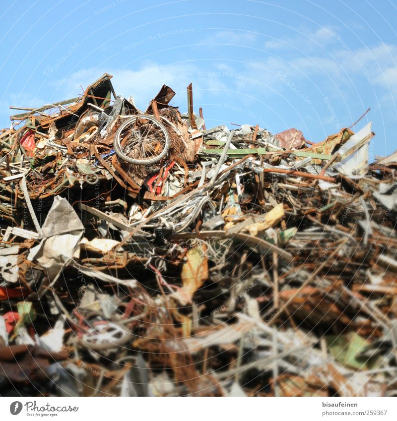 wheel of time High-tech Environmental pollution Trash Scrap metal Raw materials and fuels Raw materials depot Iron Garbage dump Recycling Mountain Colour photo