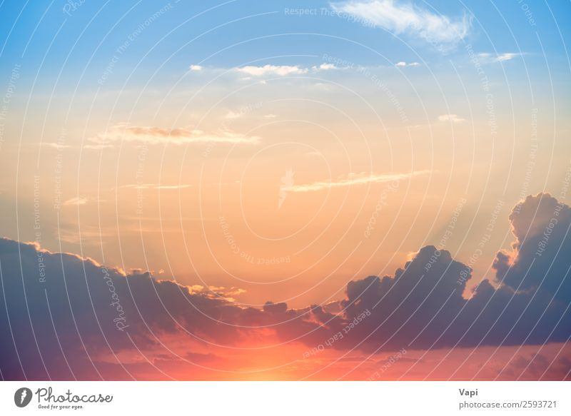 Sunset with sun and clouds Sky Nature Summer Blue Colour Beautiful White Landscape Red Clouds Warmth Yellow Natural Orange Pink