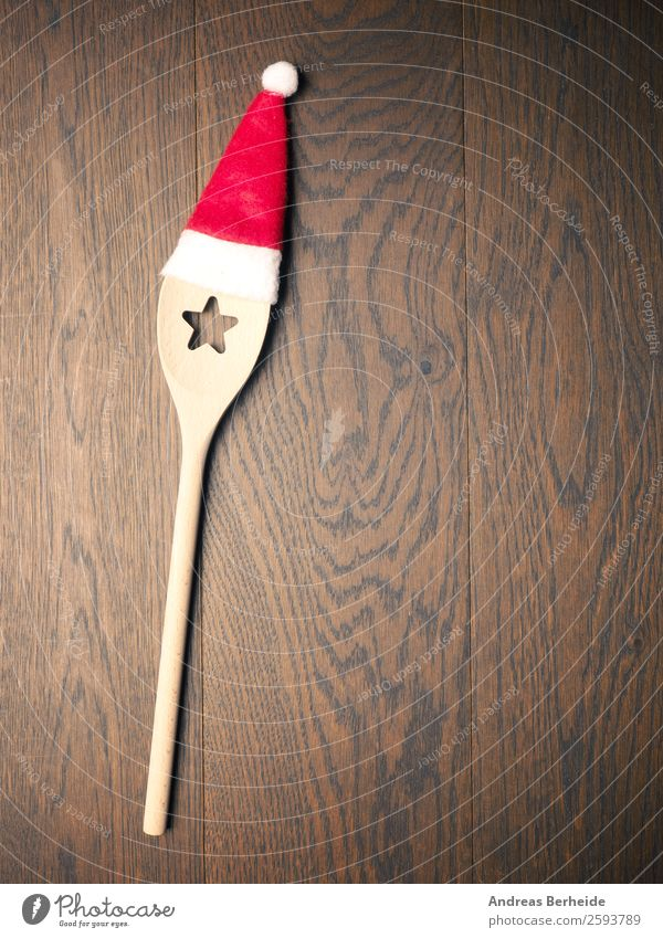 In the Christmas kitchen Banquet Spoon Style Winter Restaurant Christmas & Advent Hat Cap Wooden spoon Kitsch Funny Santa Claus cooking Background picture table